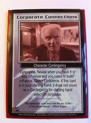 Babylon 5 Ccg Card Rare Cororate Connections (Wheel Of Fire) Mint.