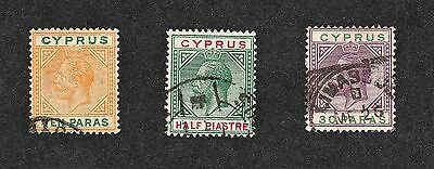 Cyprus used stamps 1912-15 SG 74,75 & 76  (Lot20)