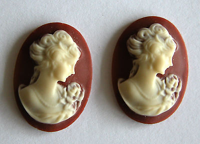 """Brown 3D Victorian Style """"Lady"""" Cameo (25*18mm)-43"""