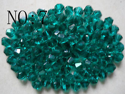 100pcs 6mm 5301# Bicone Faceted Glass Crystal Loose Spacer Beads Hole green