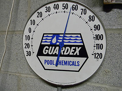 """Vintage 12"""" *GUARDEX* POOL CHEMICAL Round Thermometer Very Nice - SEE PIC'S"""