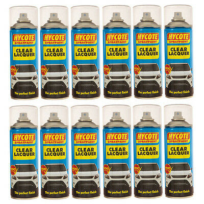 Hycote Aerosol Clear Lacquer Car Spray Paint 12 Cans 400ml