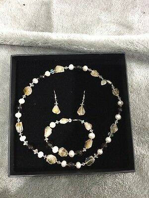 Pearl And Jewels Necklace Earrings And Bracele