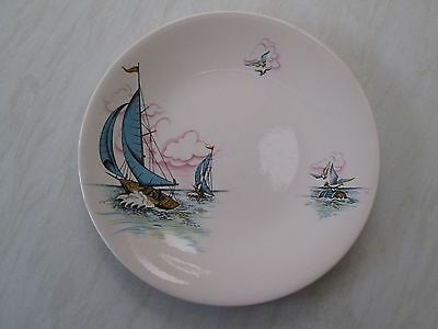 Retro Mid Century dinner plate with a blue yacht sailing boat design