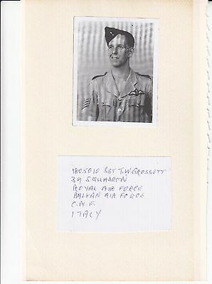 Photo copy of Photo & Piece Signed by Sgt T W Grossett 39 Sqn  Photo copy of Pho