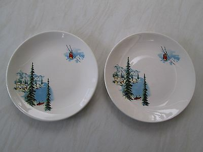Crown Clarence side plates in the Lucerne Alpine scene design x 2