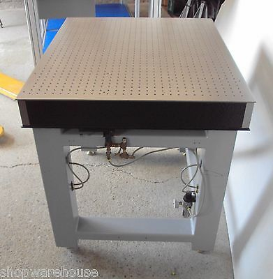 """tested NEWPORT 36"""" OPTICAL TABLE BREADBOARD w/ PNEUMATIC SELF LEVEL ISOLATION"""