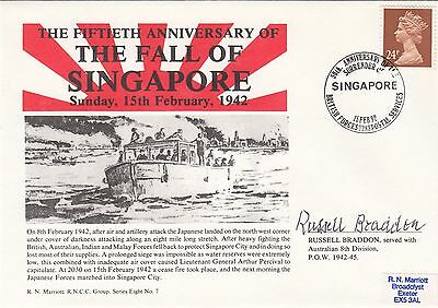 8RNCC7 50th Anniversary of the fall of Singapore Signed Russell Braddon POW