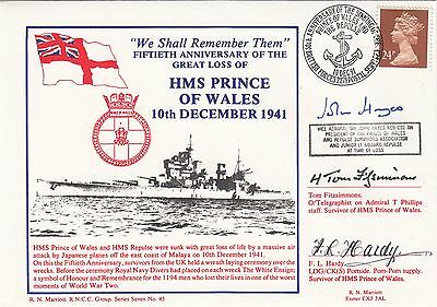 5RNCC45b HMS Prince of WAles & HMS Repluse Signed by 3 Survivors