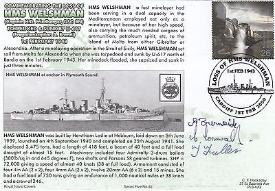 5RNCH40 The Loss of HMS Welshman Signed 3  Survivors