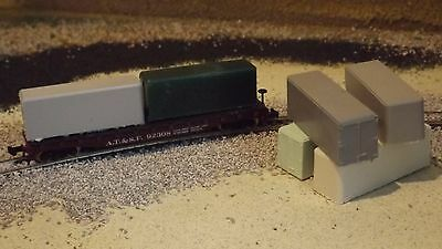 N-Scale  6 Unfinished 25' Container Flat Car Loads Dioramas/Layouts/1:160Detail