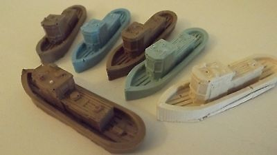 N-Scale 6pc Waterline Tug Boats 1:160 Model Train Detail Unfinished