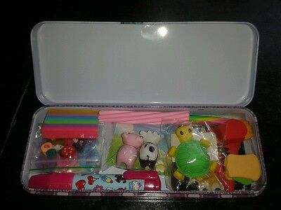 Joblot Novelty Erasers Rubbers in Pencil Tin Party Bag Gift - Brand New