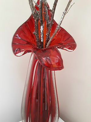 """Large 17""""  Red Murano Style Glass Vase"""