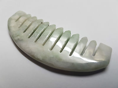 144.20Cts~Beautiful Natural Light Green Hand Carved Jade Healing Comb