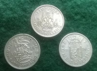 1948e,1951s and 1956s shillings