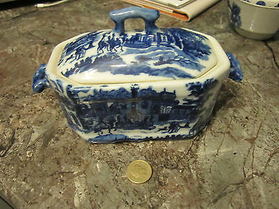 Lovely Old Blue & White Butter Dish