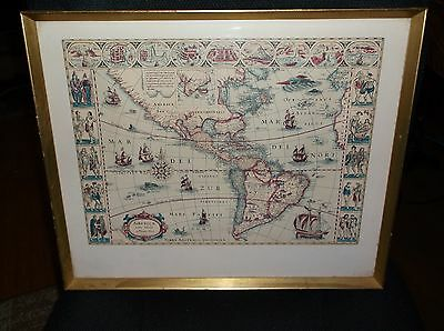 Framed Antique Facsimile Americae Nova Tabula North America Map Janszoon Blaeu