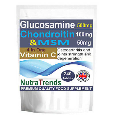 Glucosamine,Chondroitin,MSM,Vitamin C Complex Joint Strength 240 Tablets
