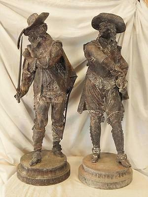 A Large Imposing Pair Of Antique Spelter Cavaliers Figures