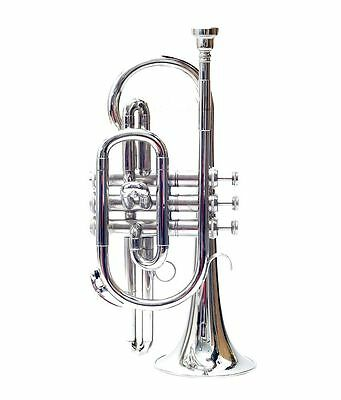 """New Cornet_Chrome _Finish^bb""""pitch Nice*look W/case-Mp- Mute Free Fast Shipping"""