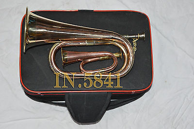 Brass Army^military_Funeral Taps_Cavalry B Falt Bugle With Little Gift & H/case