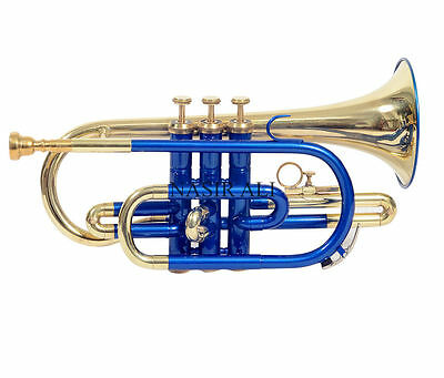 amazing CORNET blue + brass polished Bb pitch for sale with free mp+case