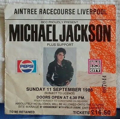 Michael Jackson World Tour : 11 September 1988 Ticket Stub : Aintree, Liverpool