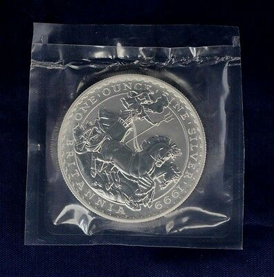 1999 Silver 1oz Britannia £2 coin in Mint sealed packet   (Y3/10)