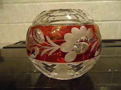 Clear And Cranberry Coloured Glass Posy Bowl/vase ,floral Decoration