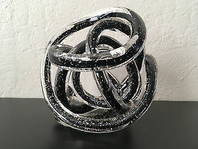 Vtg Murano Art Glass Twisted Rope Knot Sculpture Black Silver Flecks Paperweight
