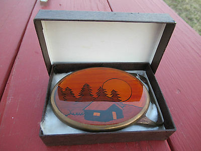 Kenneth Reid Belt Buckle Inlaid with Solid Brass Base Western Landscape & Cabin