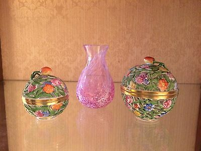 Herend SET of 2 Reticulated Pierced Box Sphere - Floral Strawberry Ball Trinket