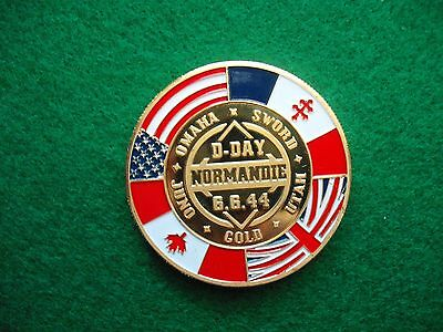 Plated coloured Medallion France D-Day 1944 Normandy world war 2