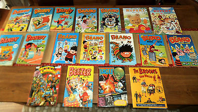 """Unique Large Mixed Collection """"mint"""" Condition Beano, Dandy, Rupert Annuals X 19"""