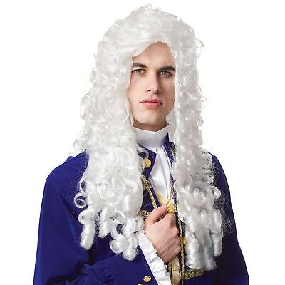 Powdered Wig Adult Mens Colonial 18th C Costume Baroque Fancy Dress