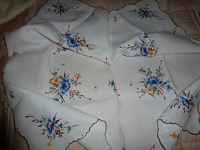 Beautiful vintage linen hand embroidered tablecloth unused