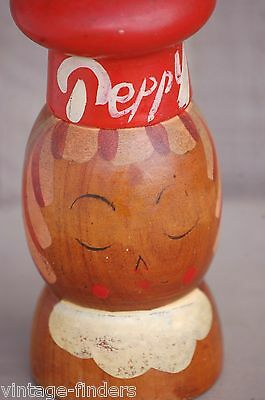 Old Vintage Peppy Wooden Pepper Shaker Wood Kitchen Tool Decor Mid-Century