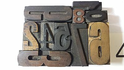 Wooden letterpress numbers set,printing blocks,mixed font wood figures,type,#4