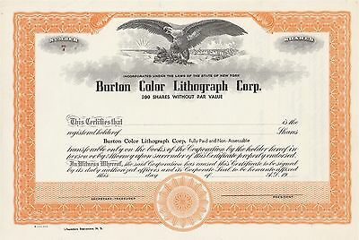 Unissued Stock Certificate Burton Color Lithograph Corp New York City