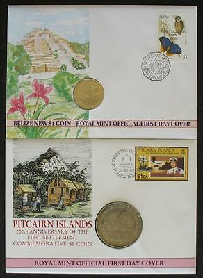 199) Numisbrief 2 NB Royal Mint Official First Day Cover Belize + Pitcairn Islds