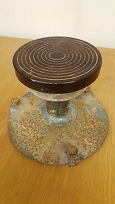 Vintage Pottery Banding Wheel and Metal base, 142mm, Clay, Ceramic, Ceramics