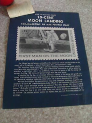 MOON LANDING  1969  - U S A STAMPS x  4 & POST OFFICE POSTER