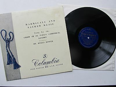"""Madrigals and Sacred Music 12"""" Lp  St Paul's Cathedral Choir  33CX 1237  UK 1955"""