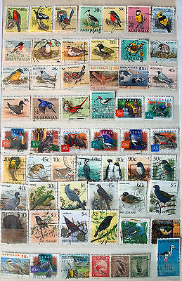 Collection Of Used Stamps Showing Birds, Bird Thematics.