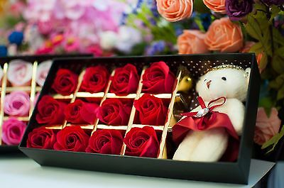 12 Red Valentines Day Scented Soap Flower Roses + Free Cute Teddy In Gift Box*uk