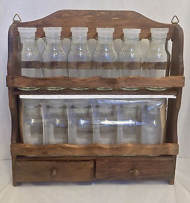 Vtg Wooden Two-Tier Spice Rack Two Drawers 12 Apothecary Glass Bottles