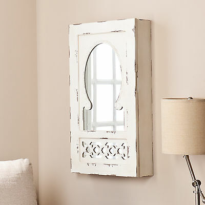 Mirrored Jewelry Armoire Wall Mounted Box Organizer White Storage Chest Cabinet