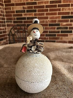 Vintage 1940's Putz  Snowman on Pinecone Candy Container,Lantern, German US Zone