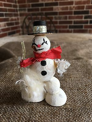 Vintage 1940's Putz  Snowman Figure,Mica Glitter,Red Crepe Paper Scarf, Chenille